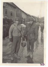 <h5>Combat</h5><p>Soldiers on a street in France. Photo provided by the family of Elmore Willets. </p>