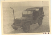 <h5>Combat</h5><p>Jeep with radio equipment and wire cutting post. Photo provided by the family of Elmore Willets.</p>
