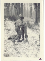 <h5>Combat</h5><p>Capture of a German prisoner after relief of Observation Post #2. Photo provided by the family of Elmore Willets.</p>