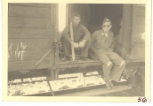 <h5>Combat</h5><p>Soldiers on boxcar, identities unknown. Photo provided by the family of Elmore Willets.</p>
