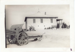 <h5>Training</h5><p>View of training camp. 75mm cannon. Perhaps Fort Sill? Photo provided by the Willets family. </p>