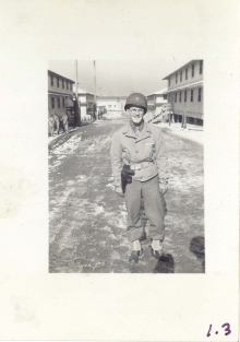 <h5>Training</h5><p>A lieutenant in barracks street. Photo provided by the Willets family.</p>