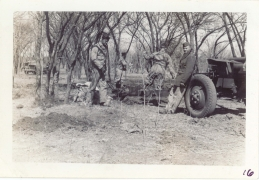 <h5>Training</h5><p>Training on field piece. Possibly 57mm anti-tank? Photo provided by the Willets family.</p>