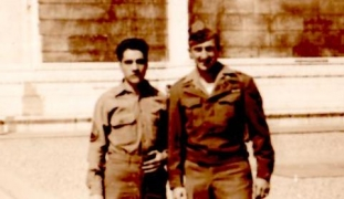 <h5>War Buddies</h5><p>Chester Swistak with his buddy (unidentified). Photo provided by family of Chester Swistak.</p>