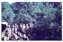 <h5>Officers</h5><p>Rare color photo of officers of the 733rd. Photo provided by the family of Kenneth James Taylor.</p>