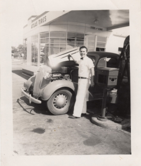 <h5>Gas Station Attendant </h5><p>Gas station attendant before the war. Provided by the family of Ivo Schommer.</p>