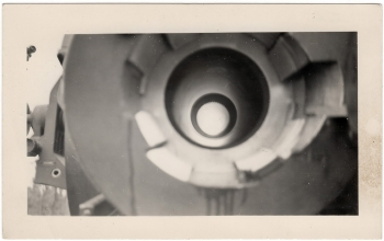 <h5>Cannon</h5><p>Looking down the rifling of a cannon. Photo provided by family of Ivo Schommer.</p>