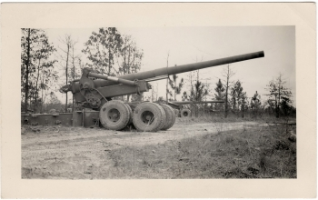 <h5>Cannon</h5><p>Appears to be a Long Tom. Photo provided by family of Ivo Schommer.</p>
